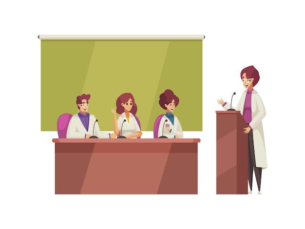 Oyentes y oradores en dibujos animados de conferencias médicas.