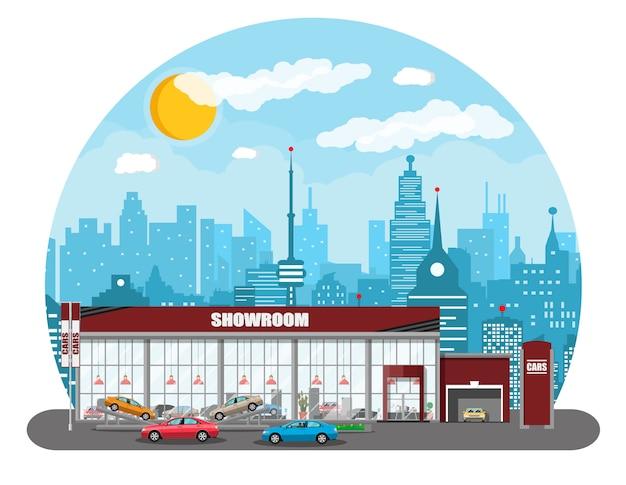 Pabellón de exposiciones, concesionario de automóviles