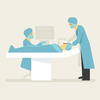 El paciente de anestesia de los médicos antes de la cirugía