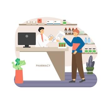Paciente comprando medicamentos recetados y dando prescripción médica al médico farmacéutico