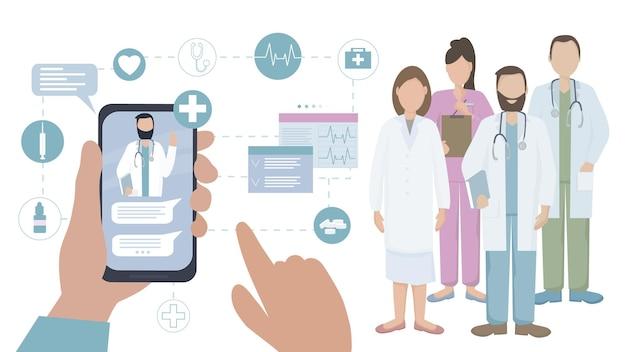 El paciente se comunica con el médico en línea.