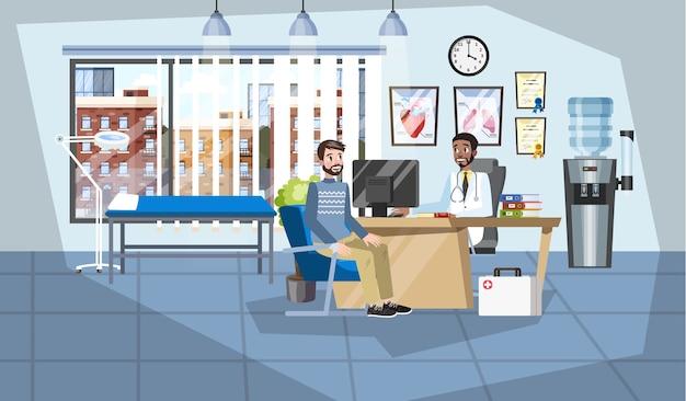Paciente en consulta médica en consultorio médico