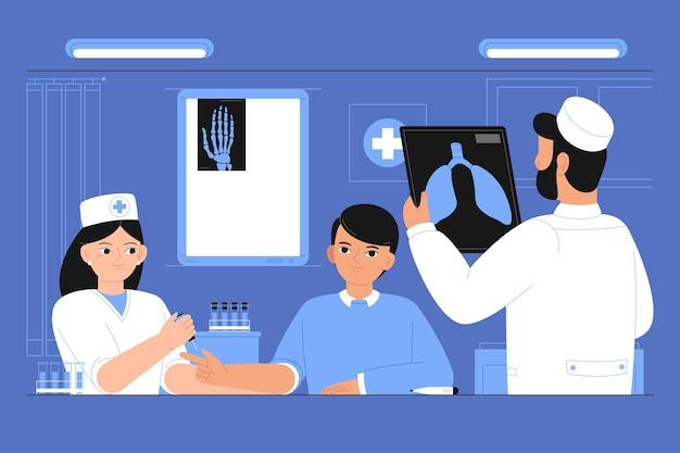 Paciente dibujado a mano plana tomando un examen médico