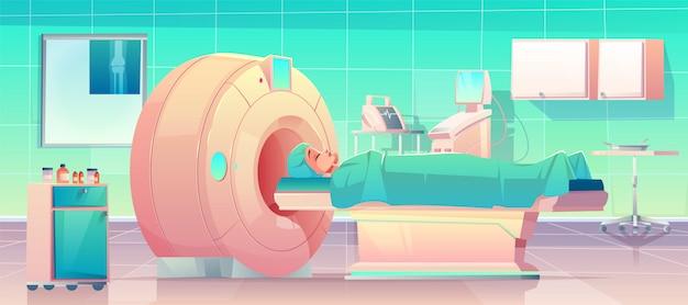 Paciente con escáner de resonancia magnética en el hospital