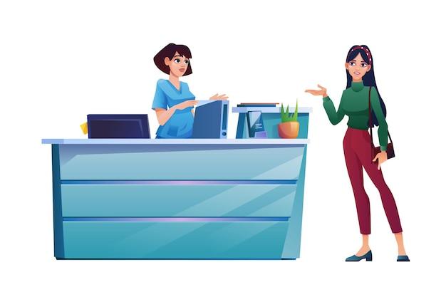 El paciente habla con la recepcionista en la recepción del personal médico