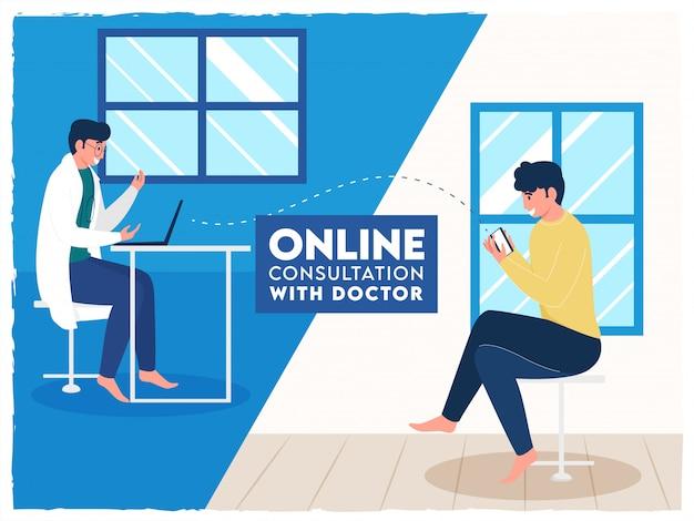 Paciente hablando por videollamada con un médico en la habitación interior para consulta en línea.