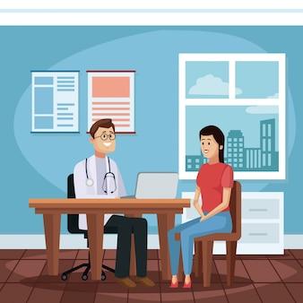 Paciente en la historieta de la oficina de médicos