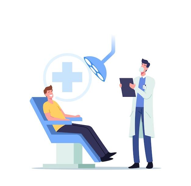 Paciente hombre sentado en la silla médica en el gabinete del estomatólogo con equipo