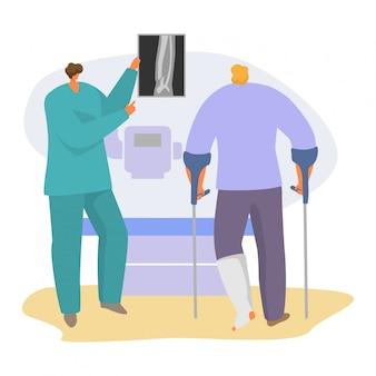Paciente en ilustración de cita con el médico, personaje de traumatólogo de dibujos animados que muestra una imagen de rayos con fractura de extremidad en blanco