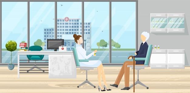 Paciente en la ilustración de consulta médica