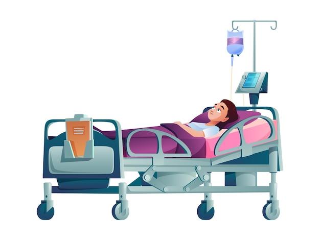 Paciente joven en la cama de un hospital con gotero