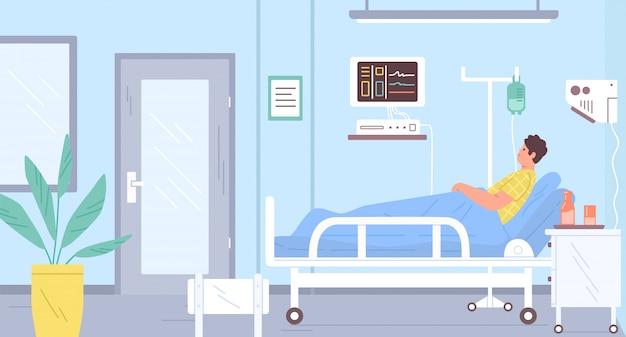 Paciente masculino acostado en la cama en la sala de terapia intensiva moderna vector ilustración plana. hombre enfermo con gotero en el interior del hospital. muebles de clínica médica y dispositivos. chico en la sala durante la terapia