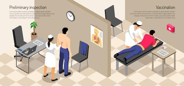 Paciente masculino y enfermera durante el procedimiento de vacunación