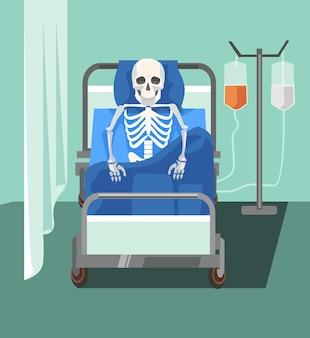 Paciente muerto. la medicina ayuda demasiado lentamente. problemas de salud.