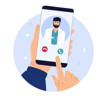 El paciente realiza una videollamada al médico en línea. el trabajador médico avisa a una persona enferma de forma remota.