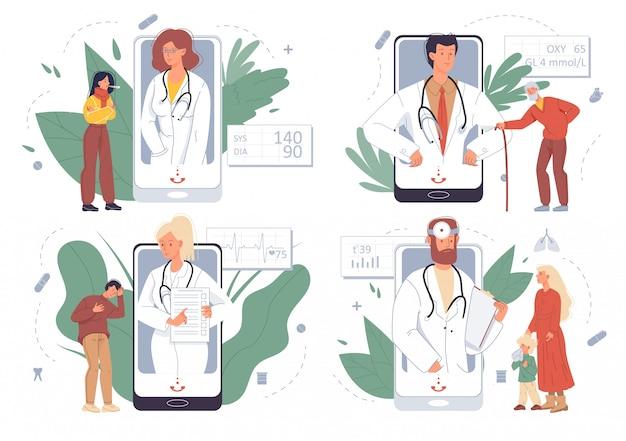 El paciente recibe consulta médica a través del conjunto de teléfonos inteligentes