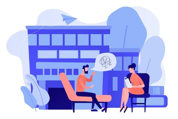 Paciente de sexo masculino en el entrenador en la consulta de psicología hablando con el psicólogo. servicio de psicólogo, asesoramiento privado, concepto de psicología familiar. ilustración aislada del vector azul coral rosado rosado
