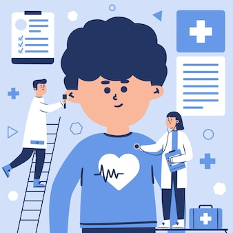 Paciente siendo examinado por un médico en una clínica ilustración