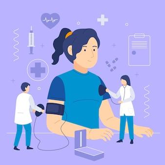 Paciente siendo examinado por un médico en una clínica ilustrada