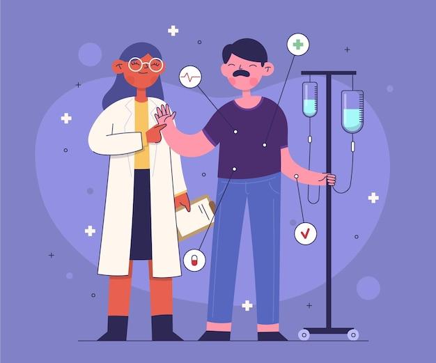 Paciente siendo examinado por un médico en una clínica.