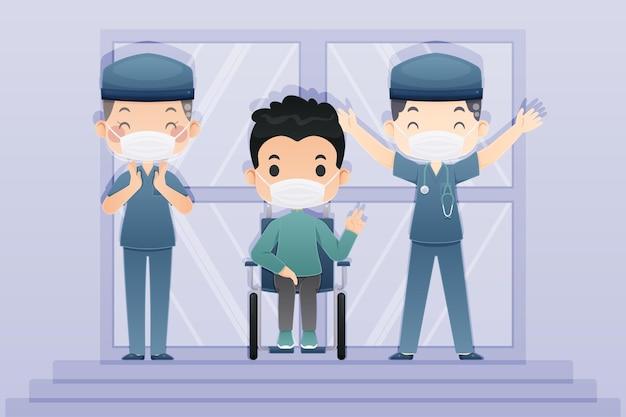 Paciente en silla de ruedas y doctores victoria sobre virus