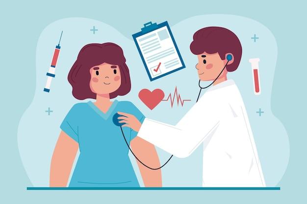 Paciente tomando un examen médico