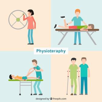 Pacientes en clínica de fisioterapia