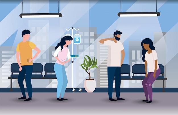 Pacientes enfermos en el hospital médico con sillas.