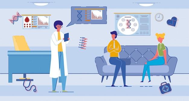 Pacientes hablando con el doctor en su consultorio