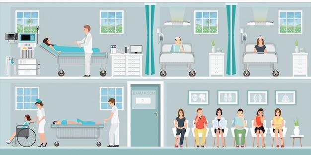 Pacientes y médico en el hospital.