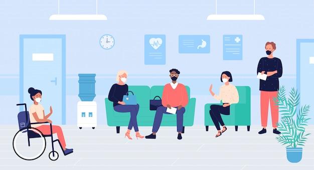 Pacientes personas en la sala de espera de médicos ilustración. los personajes de dibujos animados mujer plana hombre con máscaras se sientan y esperan la cita doctoral en el interior del pasillo del hospital. fondo de asistencia médica