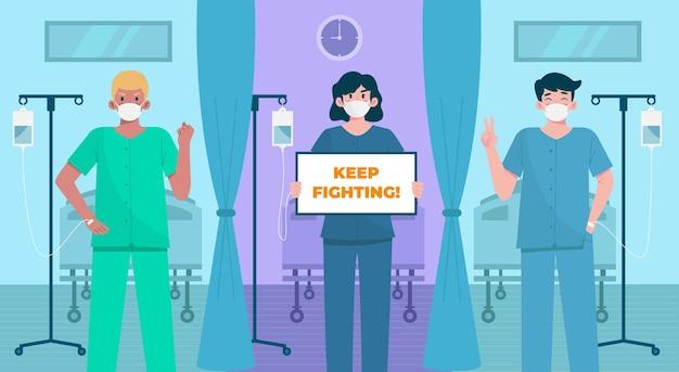 Pacientes positivos que luchan contra el virus covid-19