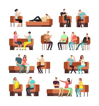 Pacientes y psicólogo. apoyo psicoterapéutico. gente estresada reunión psiquiatra vector set