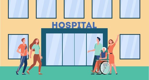 Pacientes y sus familiares frente al hospital. ilustración de dibujos animados