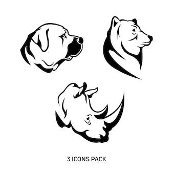 Pack de 3 iconos animales
