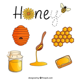 Pack de accesorios de miel dibujados a mano