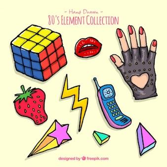 Pack de accesorios de los ochenta dibujados a mano