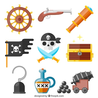 Pack de accesorios de piratas en diseño plano