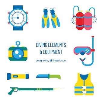 Pack de accesorios de submarinismo planos