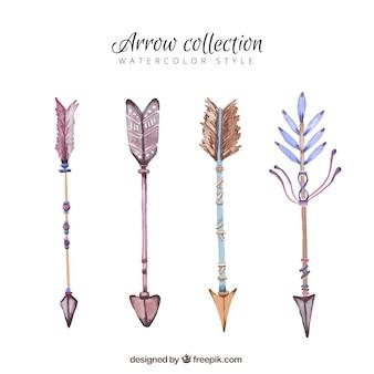 Pack de acuarela de flechas con plumas decorativas