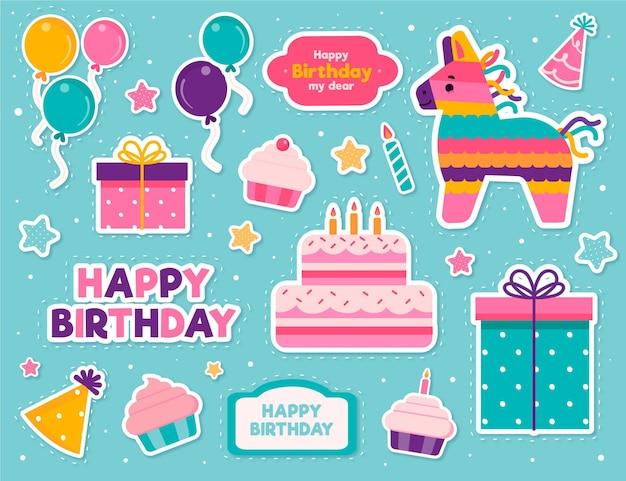 Pack de adorables elementos de scrapbook de cumpleaños