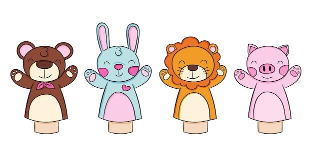 Pack de adorables marionetas dibujadas a mano