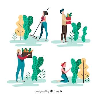 Pack de agricultores trabajando ilustrado