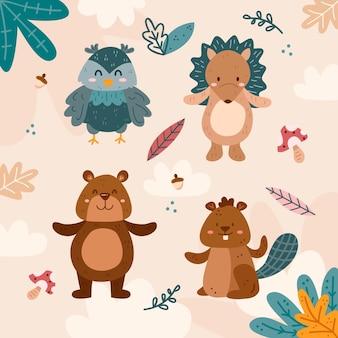 Pack de animales del bosque otoñal