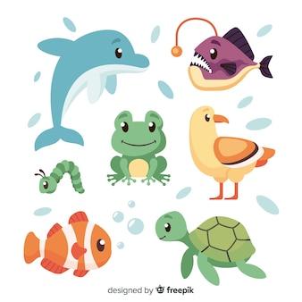 Pack de animales en estilo infantil