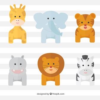 Pack de animales salvajes adorables en diseño plano