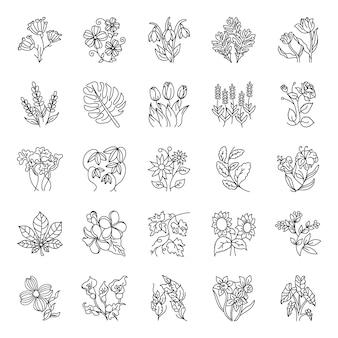 Pack de arte floral dibujado a mano