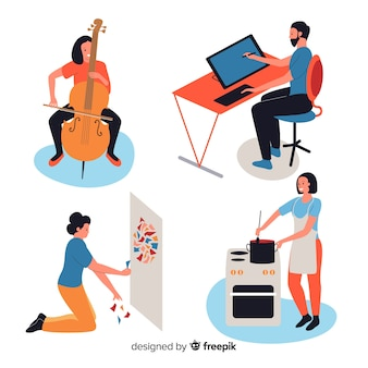 Pack de artistas en el trabajo