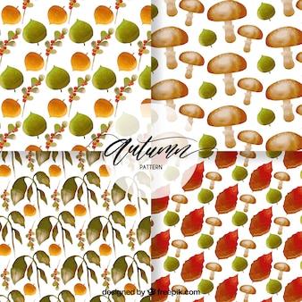 Pack artístico de patrones de otoño en acuarela