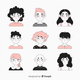 Pack avatar de personas dibujos animados
